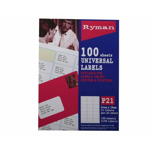 Ryman Universal Labels P21 64 x 38mm Box of 100 in White