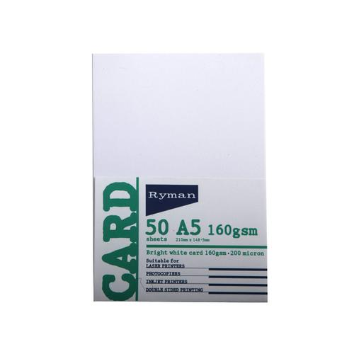 Ryman Card A5 160gsm Pack of 50 Sheets