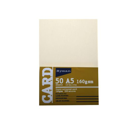 Ryman Card A5 160gsm A5 160gsm Pack of 50 in Ivory