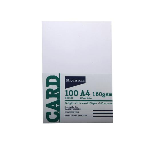 Ryman Card A4 160gsm Pack of 100 in White