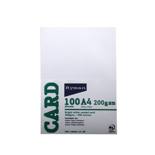 Ryman Card A4 200gsm Pack of 100 in White