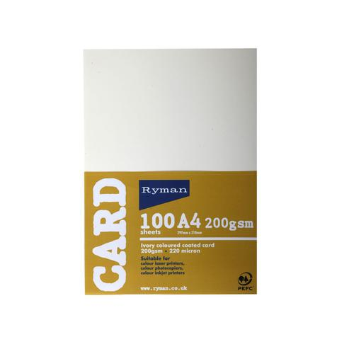 Ryman Card A4 200gsm Pack of 100 in Ivory