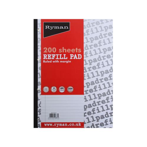 Ryman Refill Pad 200 Sheets in A4 Ruled with Margins