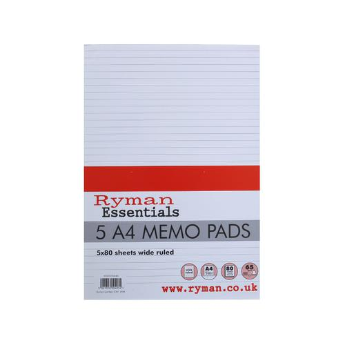 Ryman Ruled Memo Pad with 80 Sheets in A4 Pack of 5