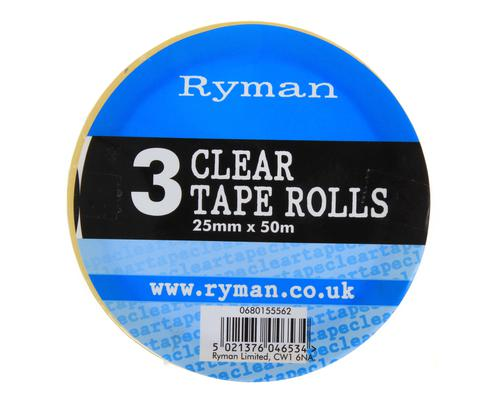 Ryman Clear Tape 25mm x 50m Pack of 3