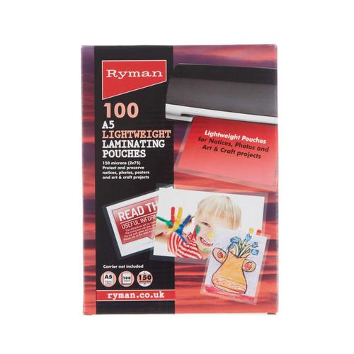 Ryman Laminating Pouches A5 150 Micron Pack of 100
