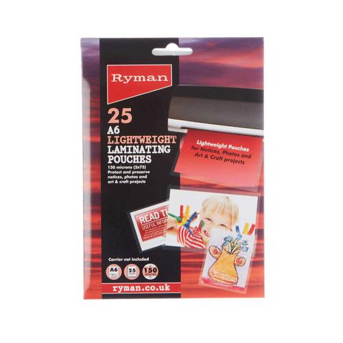 Ryman Laminating Pouches A6 150 Micron Pack of 25