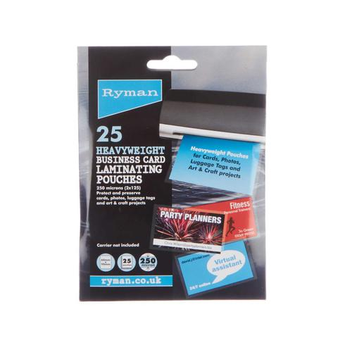 Ryman Laminating Pouches Business Card 60x95mm Pack of 25
