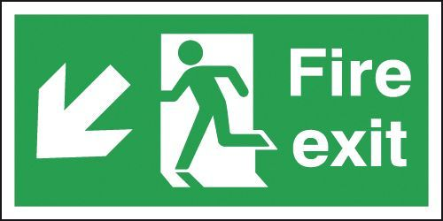 Safety Sign Fire Exit Running Man Arrow Down/Left 150x450mm PVC FX04011R