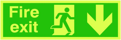 Safety Sign Niteglo Fire Exit Running Man Arrow Down 150x450mm PVC FX04211M