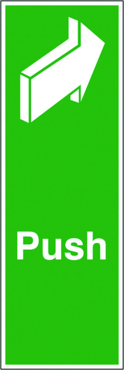Safety Sign Push 150x50mm Self-Adhesive (Universal symbol and colour scheme) FX05512S