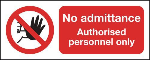 Safety Sign No Admittance Authorised Personnel Only A5 Self-Adhesive ML01551S