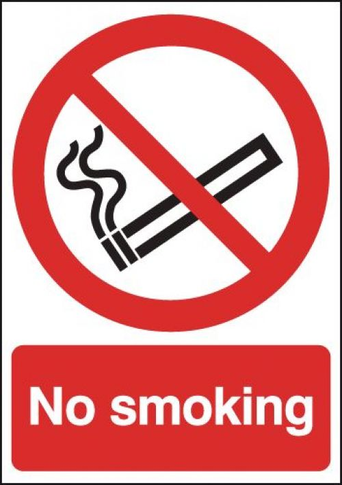 Safety Sign No Smoking A5 Self-Adhesive (Confirms to BS EN ISO 7010) ML02051S