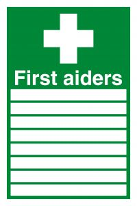 Safety Sign First Aiders 300x200mm PVC FA01926R