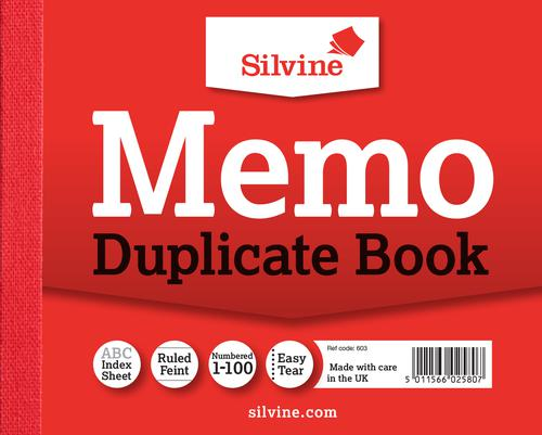 Silvine Duplicate Book Ruled 4x5in PK12