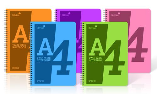Silvine A4 Notebooks Wirebound Polypropylene 60gsm 160pp Assorted POLYA4AC [Pack of 5]