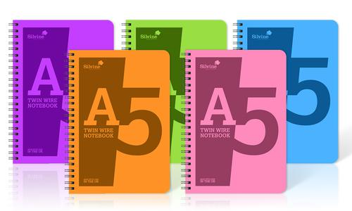 Silvine A5 Notebook Wirebound Polypropylene 60gsm 160pp Assorted POLYA5AC [Pack of 10]