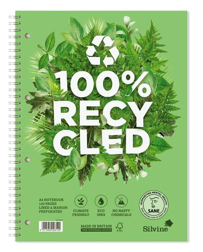 Silvine Premium 100% Recycled Soft Cover Twin Wire Notebook A4+ Ruled 120 pg R102 [Pack 5]