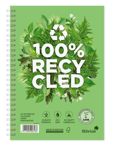Silvine Premium Recycled A5 Wirebound Card Cover Notebook Ruled 120 Pages Green (Pack 5)