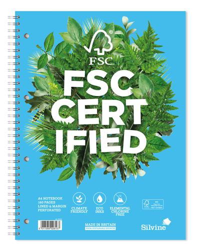 Silvine Premium FSC A4 Wirebound Card Cover Notebook Ruled 160 Pages Blue (Pack 5)