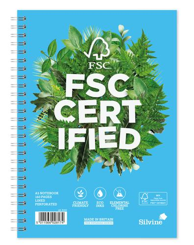 Silvine Premium FSC A5 Wirebound Card Cover Notebook Ruled 160 Pages Blue/Green (Pack 5)