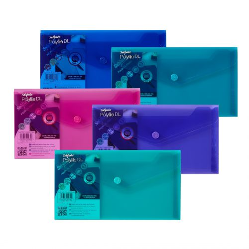 Snopake Polyfile Wallet DL Electra Assorted (Pack 5) 10035