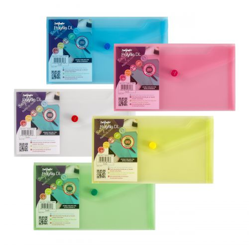 Snopake Polyfile Wallet DL Classic Assorted (Pack 5) 10070