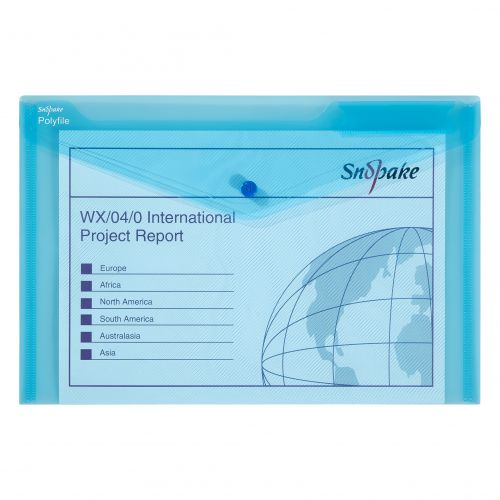 Snopake Polyfile Wallet File Foolscap Blue PK5