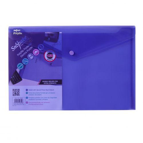 Snopake Polyfile Wallet File Polypropylene Foolscap Electra Purple (Pack 5)