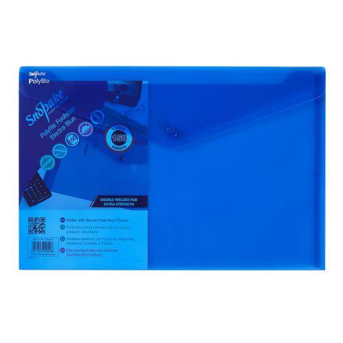 Snopake Polyfile Wallet File Polypropylene Foolscap Electra Blue (Pack 5)
