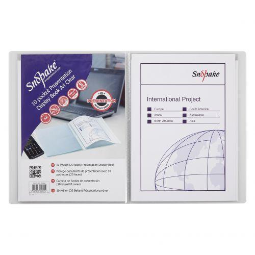 Snopake Superline Presentation Book 10 Pocket A4 Clear 11904