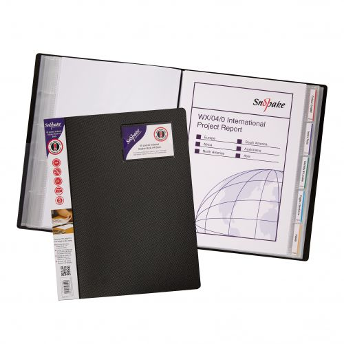 Snopake Display Book Indexed 40 Pocket/80 Sides to View A4 Black (Pack 5) 12340