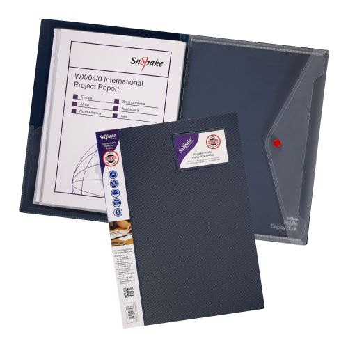 Snopake Polyfile Display Book 20 Pocket/40 Sides to View A4 Blue (Pack 5) 12367