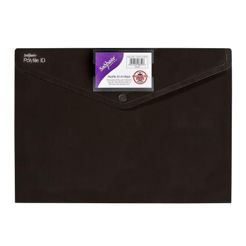 Snopake Polyfile ID Wallet A4 Black (Pack 5) 12491