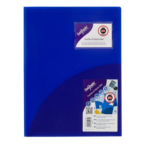 Snopake Twinfile Polypropylene A4 300 Micron Electric Blue (Pack 5)