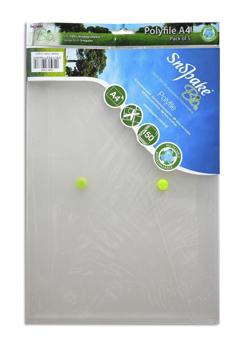 Snopake Bio Polyfile A4 Clear (Pack of 5) 15428