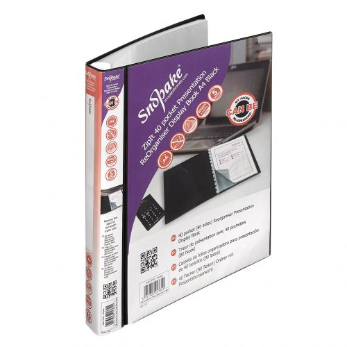 Snopake ZipIt Reorganiser Presentation Book 40 Pocket Black 15780