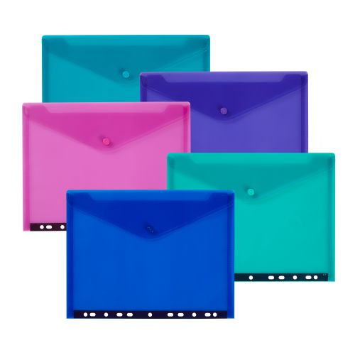 Snopake Polyfile RingBinder Wallet A4 Electra Assorted (Pack 5) 15785