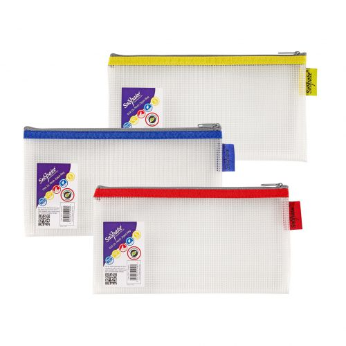 Snopake EVA Mesh Zippa-Bag 133 x 245mm Assorted (Pack of 3) 15817