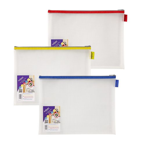 Snopake EVA Mesh Zippa-Bag 277 x 362mm Assorted (Pack of 3) 15819