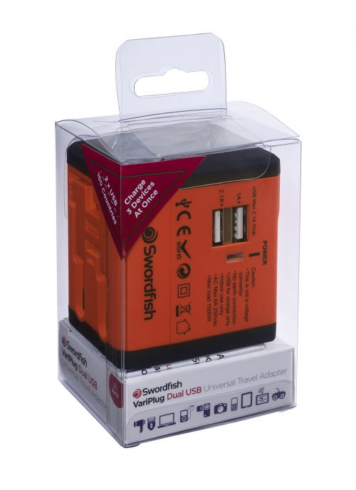 Swordfish VariPlug Dual USB Universal Travel Adapter Orange