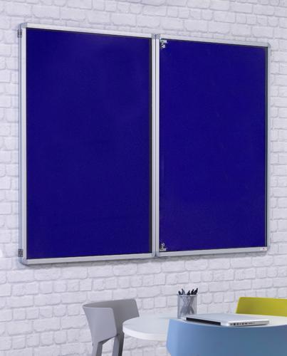 FlameShield Side Hinged Tamperproof Noticeboard - Blue - 1800(w) x 1200mm(h)