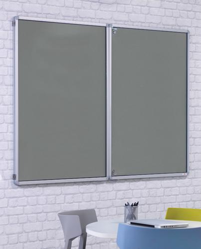 FlameShield Side Hinged Tamperproof Noticeboard - Grey - 1800(w) x 1200mm(h)
