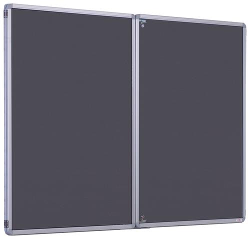 Accents FlameShield Side Hinged Tamperproof Noticeboard - Charcoal - 1800(w) x 1200mm(h)