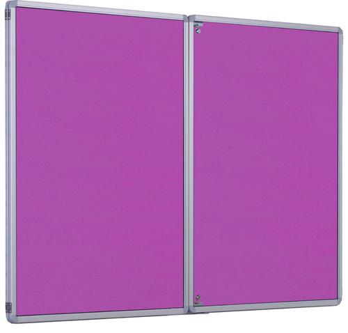 Accents FlameShield Side Hinged Tamperproof Noticeboard - Lavender - 1800(w) x 1200mm(h)