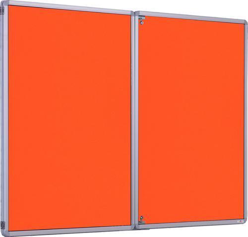 Accents FlameShield Side Hinged Tamperproof Noticeboard - Orange - 1800(w) x 1200mm(h)