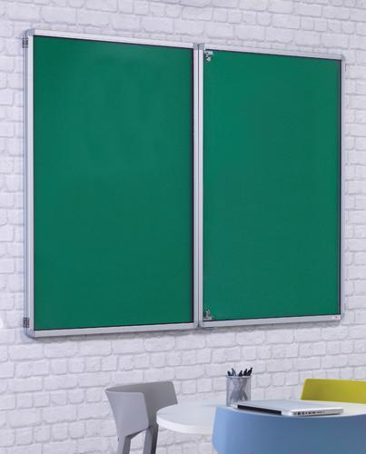 FlameShield Side Hinged Tamperproof Noticeboard - Green - 2400(w) x 1200mm(h)