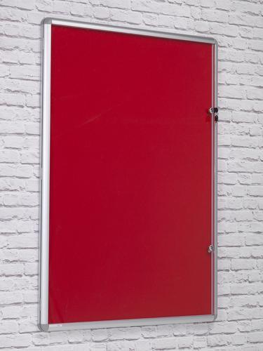 Side Hinged Tamperproof Noticeboard - Red - 600(w)x 900mm(h)