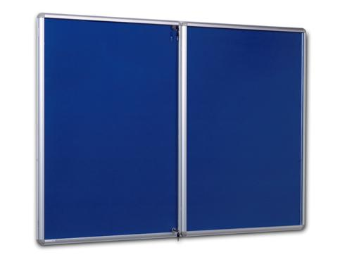 Side Hinged Tamperproof Noticeboard - Blue - 2400(w) x 1200mm(h)