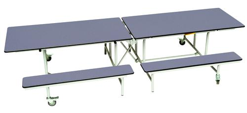 Rectangular Mobile Folding Bench Unit - Blue Top/Blue Bench - 685mm height